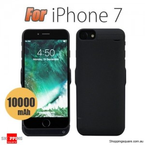 10000mAh Battery Power Bank Case Charger for iPhone 7 Black Colour