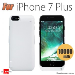 10000mAh Battery Power Bank Case Charger for iPhone 7 Plus White Colour