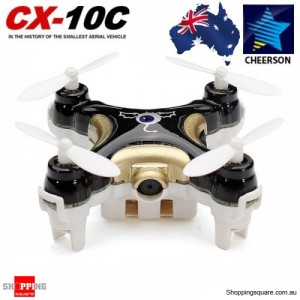 Cheerson CX-10C Mini 6 Axis 2.4G 4CH RC Spy Quadcopter with Camera Black Colour
