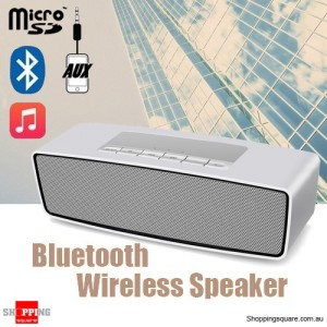 Portable Wireless Stereo Bluetooth Speaker Loudspeakers HIFI with Bass Sound Silver Colour