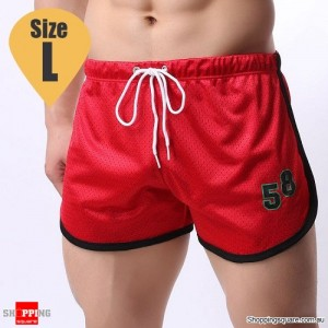 Summer Men's Fitness Training Running Jogger Beach Sports Shorts Pants Trousers Red Colour Size L