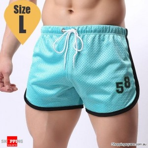Summer Men's Fitness Training Running Jogger Beach Sports Shorts Pants Trousers Light Blue Colour Size L