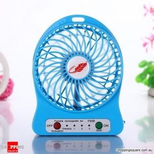 Super Powerful Mini Rechargeable Cooling Fan Genuine F95B 2016 Version Blue Colour