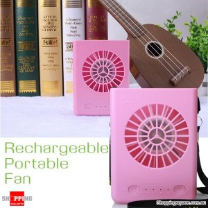 Multifunctional USB Battery Charger Portable Fan W910 Pink Colour