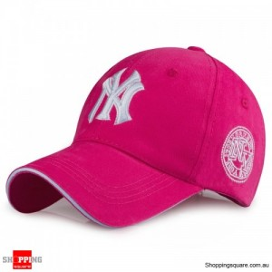Mens Womens NY Logo Snapback Baseball B-boy Hip-Hop Adjustable Cap Hat Rose Red Colour