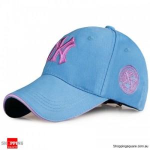 Mens Womens NY Logo Snapback Baseball B-boy Hip-Hop Adjustable Cap Hat Light Blue Colour