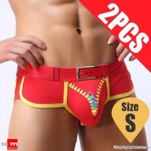 Pack of 2PCS Men's Comfy Sexy soft Boxer Briefs Shorts Bulge Pouch Underpants Underwear Red Colour Size S