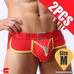 Pack of 2PCS Men's Comfy Sexy soft Boxer Briefs Shorts Bulge Pouch Underpants Underwear Red Colour Size M