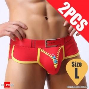 Pack of 2PCS Men's Comfy Sexy soft Boxer Briefs Shorts Bulge Pouch Underpants Underwear Red Colour Size L