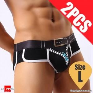 Pack of 2PCS Men's Comfy Sexy soft Boxer Briefs Shorts Bulge Pouch Underpants Underwear Black Colour Size L