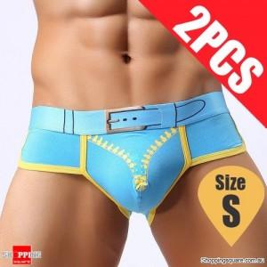 Pack of 2PCS Men's Comfy Sexy soft Boxer Briefs Shorts Bulge Pouch Underpants Underwear Blue Colour Size S