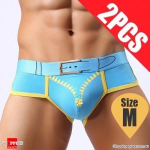Pack of 2PCS Men's Comfy Sexy soft Boxer Briefs Shorts Bulge Pouch Underpants Underwear Blue Colour Size M