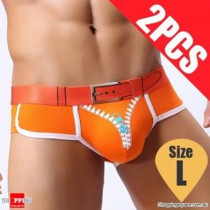Pack of 2PCS Men's Comfy Sexy soft Boxer Briefs Shorts Bulge Pouch Underpants Underwear Orange Colour Size L