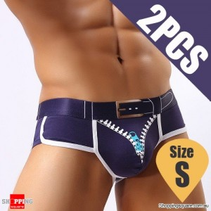 Pack of 2PCS Men's Comfy Sexy soft Boxer Briefs Shorts Bulge Pouch Underpants Underwear Royal Blue Colour Size S