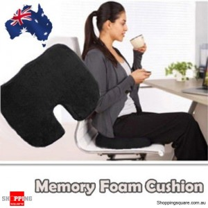 Memory Foam Cushion Seat for Back Support For Orthopedic Coccyx Pain Black Colour