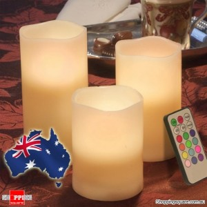 3 Pcs Remote Control Flameless Colour Changing LED Candles with Timer for Party Christmas