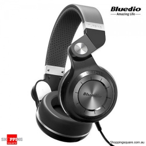 Bluedio T2-WH Portable Wired Stereo Headphones Deep Bass Headset - Black Colour