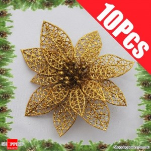 10pcs 15cm Christmas Xmas Tree Glitter Flowers Decorations for Wedding Party Gold Colour