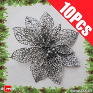 10pcs 15cm Christmas Xmas Tree Glitter Flowers Decorations for Wedding Party Silver Colour