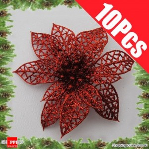 10pcs 15cm Christmas Xmas Tree Glitter Flowers Decorations for Wedding Party Red Colour