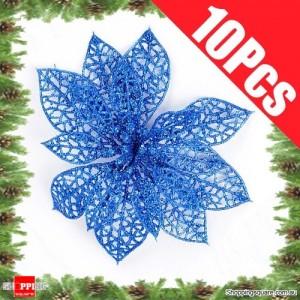 10pcs 15cm Christmas Xmas Tree Glitter Flowers Decorations for Wedding Party Blue Colour