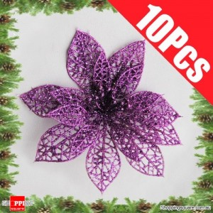 10pcs 15cm Christmas Xmas Tree Glitter Flowers Decorations for Wedding Party Purple Colour