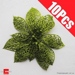 10pcs 15cm Christmas Xmas Tree Glitter Flowers Decorations for Wedding Party Green Colour