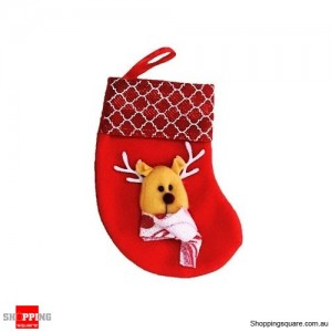 Christmas Xmas Stocking Socks Decoration Hanging Gift Bag Party Ornament Reindeer Red Colour
