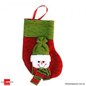 Christmas Xmas Stocking Socks Decoration Hanging Gift Bag Party Ornament Snowman Green Colour