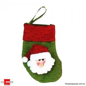Christmas Xmas Stocking Socks Decoration Hanging Gift Bag Party Ornament Santa Claus Green Colour
