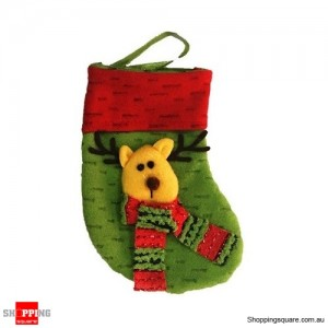 Christmas Xmas Stocking Socks Decoration Hanging Gift Bag Party Ornament Reindeer Green Colour