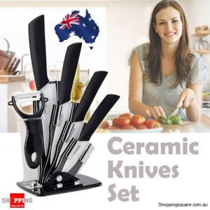 6Pcs Set of Sharp Ceramic Knife & Fruit PEELER with Stand Black Colour