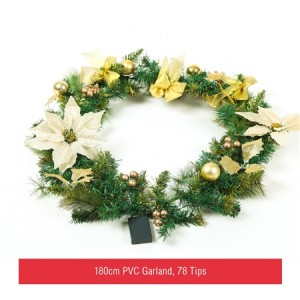 180cm Christmas Wreath Door Decoration with 25 LED Light-White&Gold