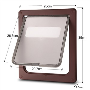 Large 2 Way Lockable Pet Dog Cat Brushy Flap Door-Coffee