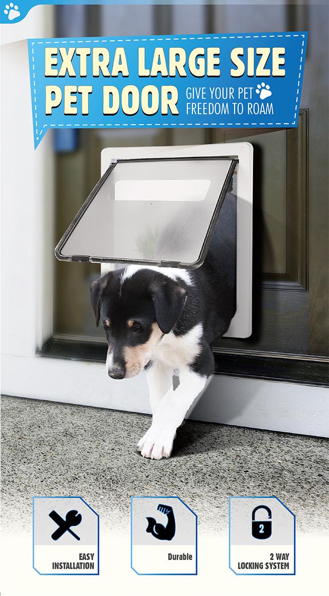 Extra Large 2 Way Lockable Pet Dog Cat Brushy Flap Door