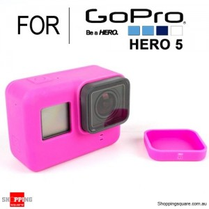 Silicone Protective Cover Case Shell with Lens Cap for GoPro Hero 5 Action Camera Pink Colour