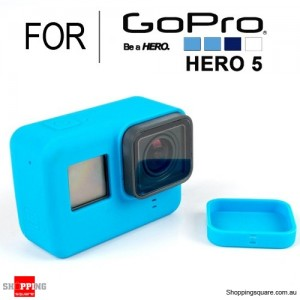 Silicone Protective Cover Case Shell with Lens Cap for GoPro Hero 5 Action Camera Blue Colour