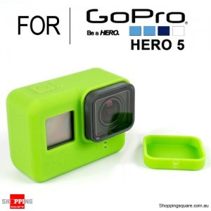 Silicone Protective Cover Case Shell with Lens Cap for GoPro Hero 5 Action Camera Green Colour