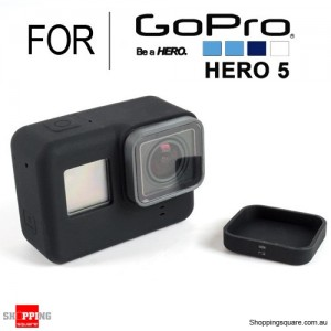 Silicone Protective Cover Case Shell with Lens Cap for GoPro Hero 5 Action Camera Black Colour