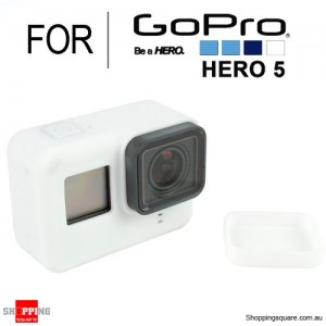 Silicone Protective Cover Case Shell with Lens Cap for GoPro Hero 5 Action Camera White Colour