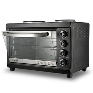 45L Electric Benchtop Convection Oven Toaster Cooker With Hotplates & Rotisserie