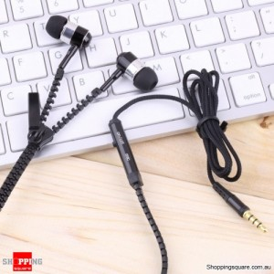 3.5mm Stereo In-ear Stylish Zipper Earphone Headset Earbuds Headphone with Mic Black Colour