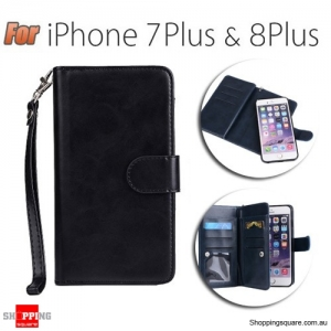 Magnetic Flip Leather Wallet Card Case Cover for iPhone 7 Plus & 8 Plus Black Colour