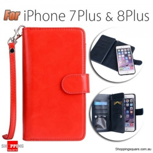 Magnetic Flip Leather Wallet Card Case Cover for iPhone 7 Plus Orange Colour