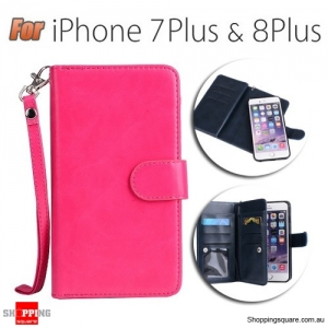 Magnetic Flip Leather Wallet Card Case Cover for iPhone 7 Plus & 8 Plus Pink Colour