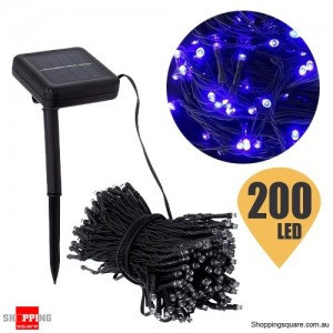 200 LED 20.4M Solar String Lights for Christmas Wedding Party Fairy Blue Colour