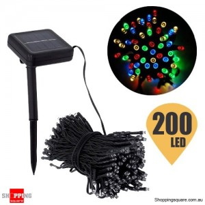 200 LED 20.4M Solar String Lights for Christmas Wedding Party Fairy Multi Colour