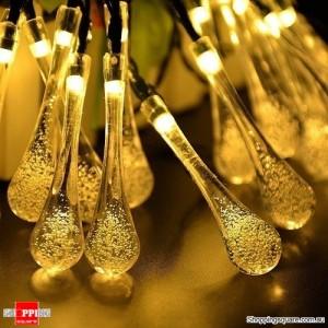 30 LED Solar Power Water Drop Fairy String Light for Outdoor Garden Xmas Party Decor Warm White Colour
