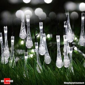 30 LED Solar Power Water Drop Fairy String Light for Outdoor Garden Xmas Party Decor Cool White Colour
