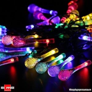 30 LED Solar Power Water Drop Fairy String Light for Outdoor Garden Xmas Party Decor Multi Colour